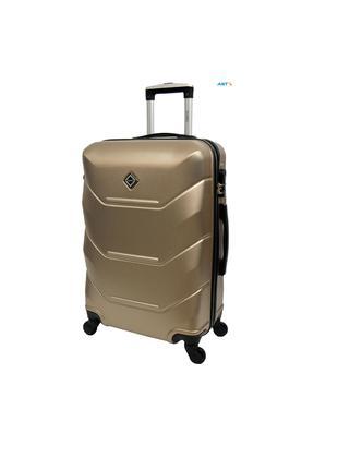 Дорожня валіза на колесах маленька шампань