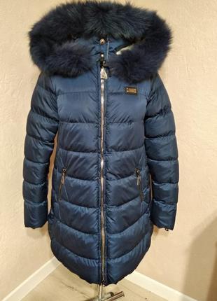 Зимняя куртка с натуральным мехом 48