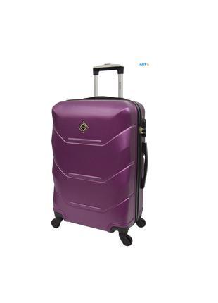 Дорожня валіза на колесах маленька бузкова