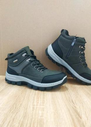 Серые мужские ботинки кожаные зимние на змейке теплые эко кожа...