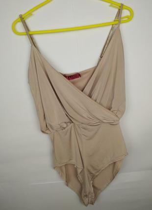 Блуза боди новая эластичная бежевая на запах boohoo uk 10/38/s