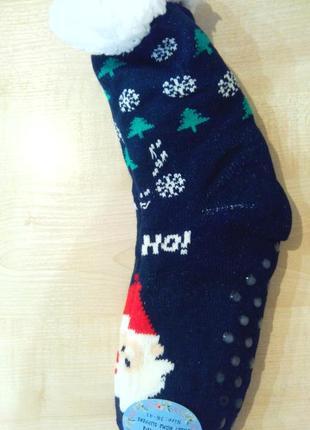 Носки-валянки новогодние женские на искуственном меху с тормоз...