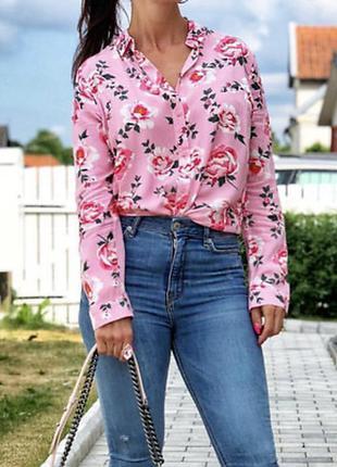 Рубашка блуза сорочка с розами вискоза от h&m