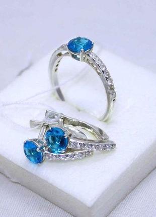 Набор кольцо и серьги серебро 925 проба