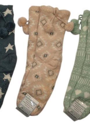 Теплющие вязаные меховые носки с тормозками тапочки валенки на...