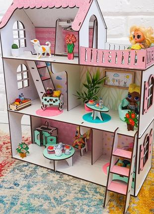 Кукольный домик для лол с мебелью.