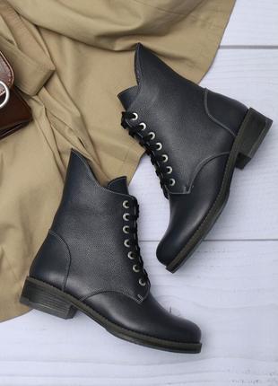 Женские кожаные зимние синие ботинки со змейкой и шнурком низк...