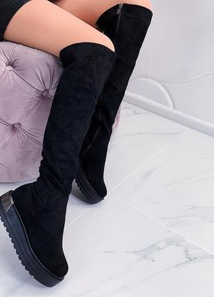 Замшевые сапоги ботфорты на платформе,чёрные замшевые ботфорты...