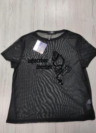 Ликвидация товара 🔥   прозрачная футболка с бархатным узором