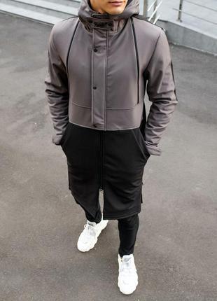 "📌пальто pobedov soft shell coat ""bali"" grey-black"