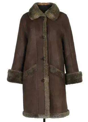 Дубленка из овчины зимняя натуральный мех пальто с капюшоном