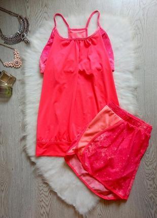Розовый цветной спорт костюм шортами майка с топом батал больш...