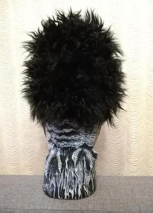 Эпатажная лохматая шапка бини зимняя искусственный мех