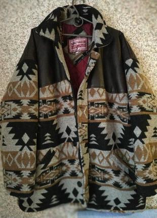 Куртка-пальто кожаная+шерстяная