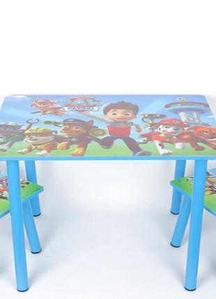 Набор детской деревянной мебели Столик + 2 стула Щенячий патруль