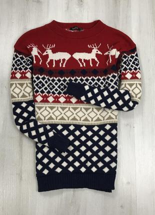 F7 boohoo свитер вязаный с оленями новогодний зимний рождестве...