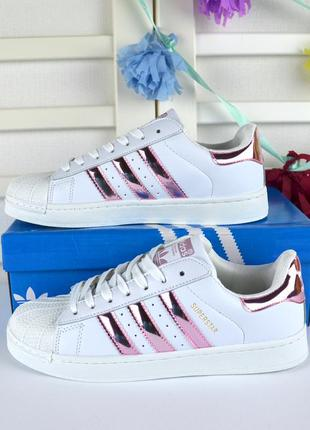 Распродажа! кроссовки белые с розовыми полосками в стиле adida...