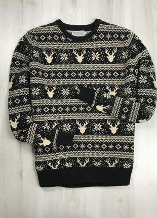 F7 свитер вязаный с оленями лосями новогодний зимний рождестве...