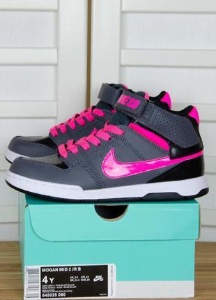 Nike sb kids mogan mid 2 jr серые с розовым и черным кроссовки...