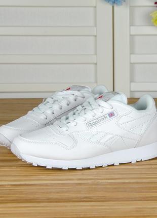 Кроссовки полностью белые из кожи. классика. в стиле reebok cl...