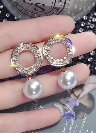 Серьги вечерние золото жемчуг сережки кристалы свадебные