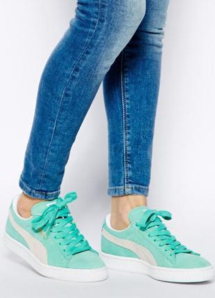 Кроссовки мятные замшевые в стиле puma suede