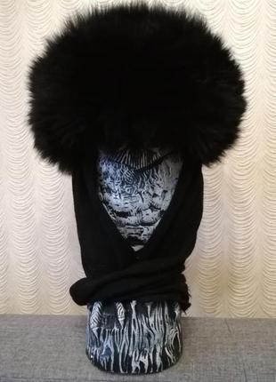 Шапка с завязками зимняя из натурального меха