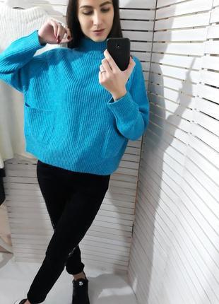 Теплый свитер с запахом на спине, вязаная кофта, джемпер