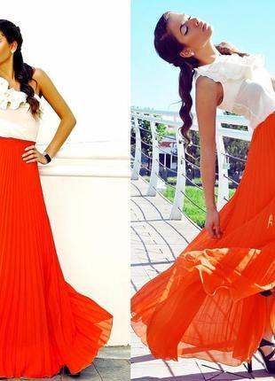 ⛔✅ юбка в пол яркий кислотный оранжевый цвет шифон плисе на по...