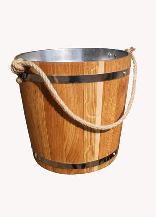 Ведро для бани 12 л. с металл. вставкой (эконом)
