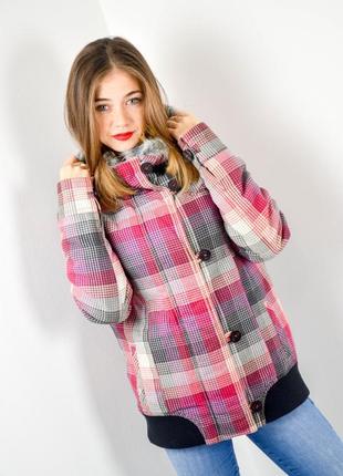 Vans яркая куртка в клетку с капюшоном на европейскую зиму, зи...