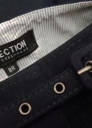 Женские классические прчмые темно синие брюки с поясом