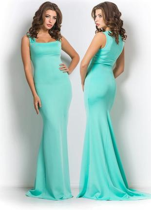 Платье в пол бирюзового цвета