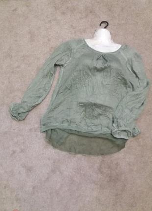 Зеленая блузка блузон варенка с прозрачной спинкой..вискоза  з19