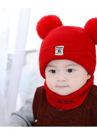 Комплект шапка+хомут moonlight красный