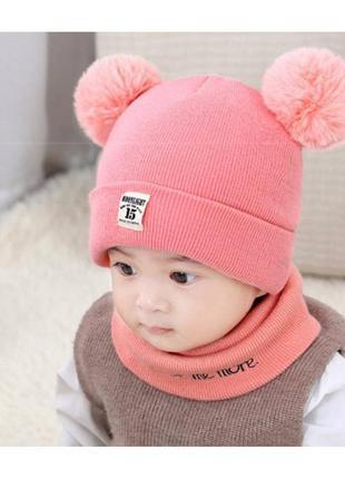 Комплект шапка+хомут moonlight розовый