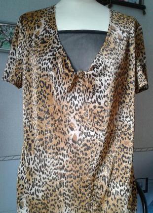 Блуза леопард с люрексом -новый винтаж р 50-52
