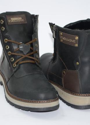 Мужские зимние ботинки, кожа, шерсть