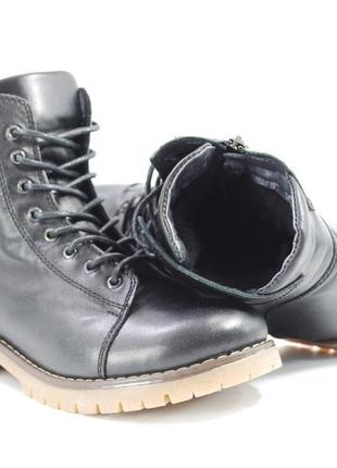 Женские зимние кожаные ботинки, натуральный мех