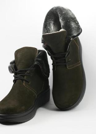 Зимние ботинки, замша + натуральный мех