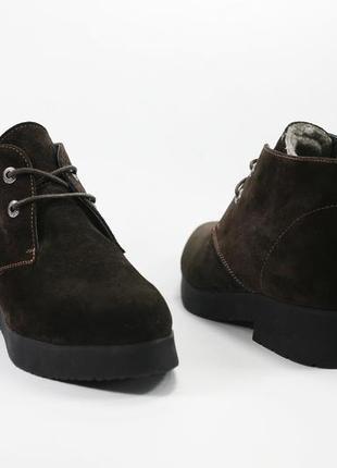 Зимние женские ботинки, замша, натуральный мех, распродажа