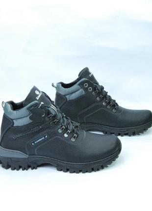 Zangak ботинки мужские зимние чёрно-серые кожа