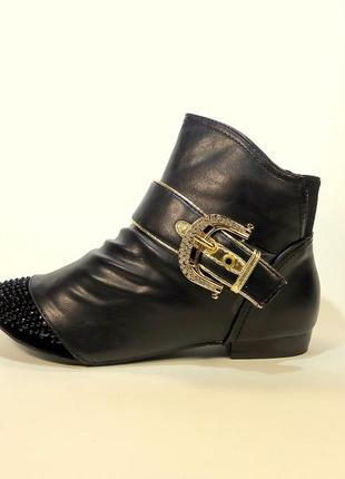 Ботинки-полусапожки демисезонные с вставкой из замши на удобно...