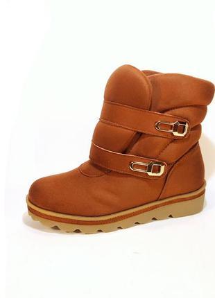 Ботинки женские, зимние, замшевые, коричневые, на липучках. ра...