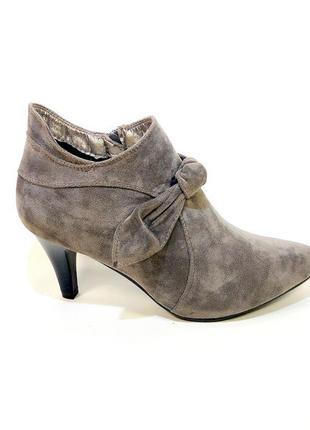 Ботинки-ботильоны женские демисезонные на каблуке, замшевые. р...