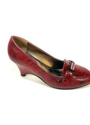 Туфли женские лодочки на устойчивой танкетке, бордовые. размер...
