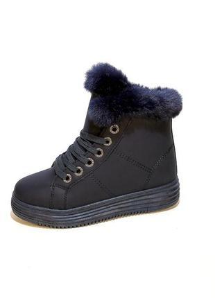 Ботинки женские, зимние, синие, с опушкой, модные и стильные. ...