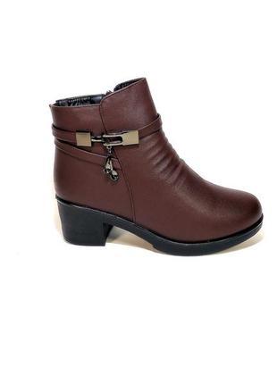 Ботинки женские, зимние, коричневые, на удобном каблуке. разме...
