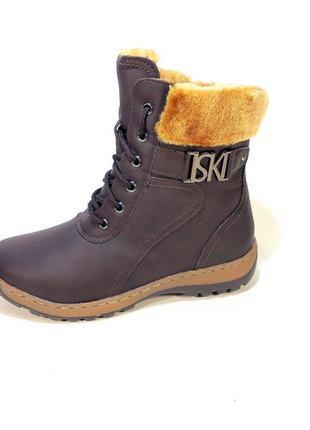 Ботинки женские, зимние, коричневые, модные и стильные. размер...
