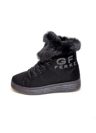 Ботинки женские, зимние, черные, замшевые, модные. размер 35-40.